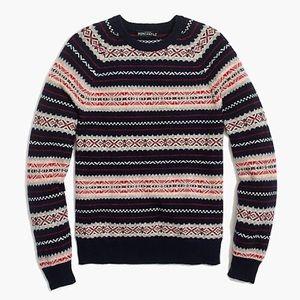 NWT jcrew fairisle lambswool sweater L